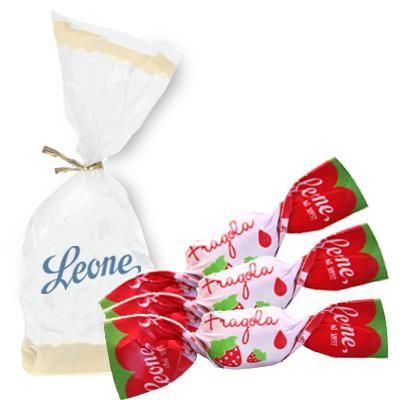 Caramelle SUCCO di FRAGOLA  in sacchetto da 250g. Leone.
