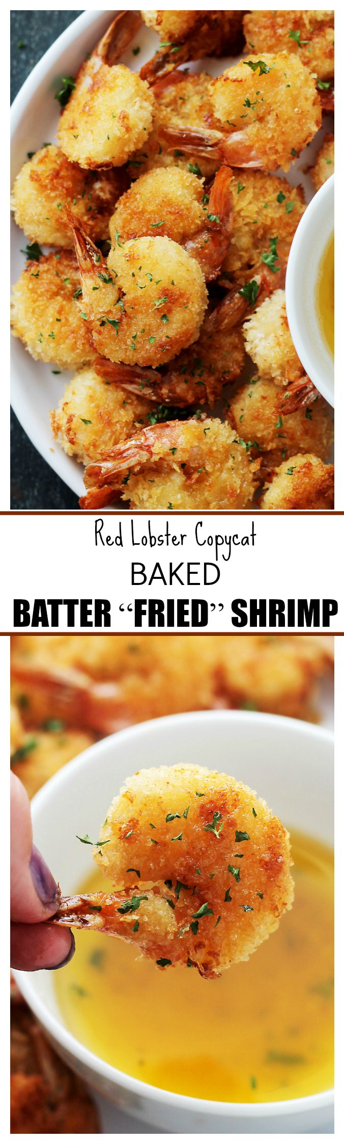 "Baked Batter ""Fried"" Shrimp with Garlic Dipping Sauce – If you are a fan of Red Lobster's Batter Fried Shrimp, then you are going to LOVE this healthier, homemade version in which the shrimp are baked instead of fried and they taste amazing!"