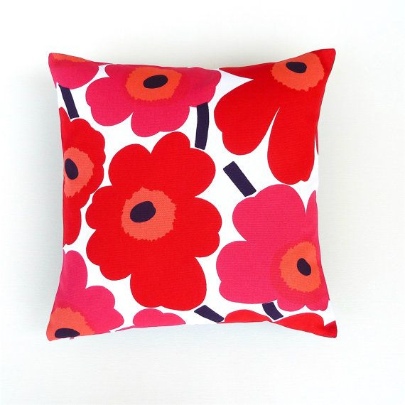 Marimekko Red Poppy Cushion Cover. PinkRed Orange by OnHighat5