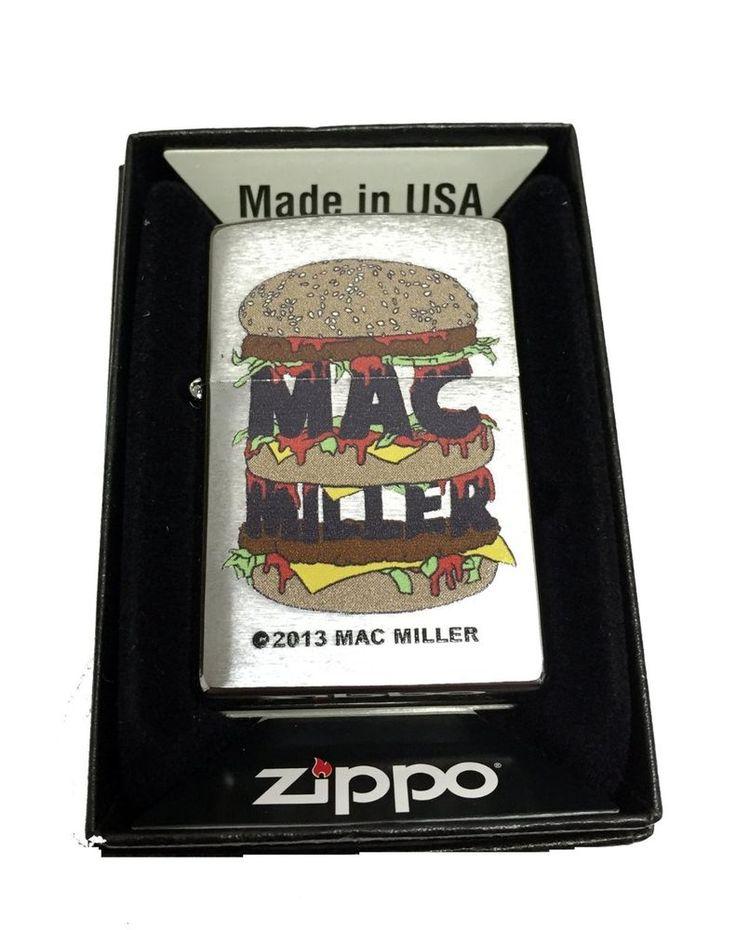 Zippo Custom Lighter - Mac Miller Triple Stacked Bun Burger Regular Brush Chrome