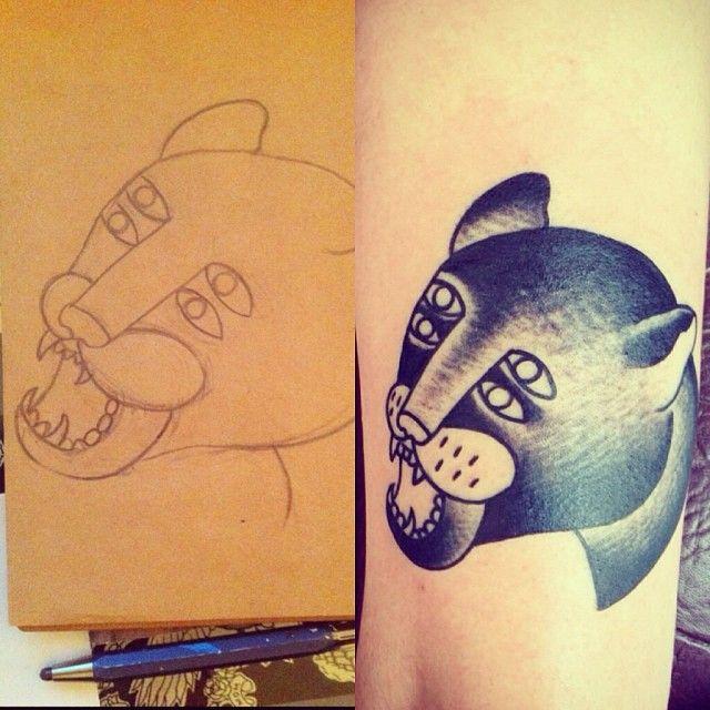 Tattoo para Silvia Alvarado por José Fernández de Scholopendra Tattoo. Ilustración de una servidora.