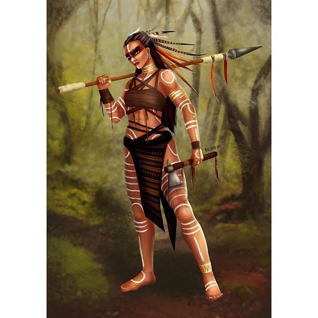 Character design I did some weeks ago such a bamf  #characterdesign #character #characterart #characterartist #tribal #warrior #bamf #aztec #nativeamerican #digitalart #digitalpainting #art #artoftheday