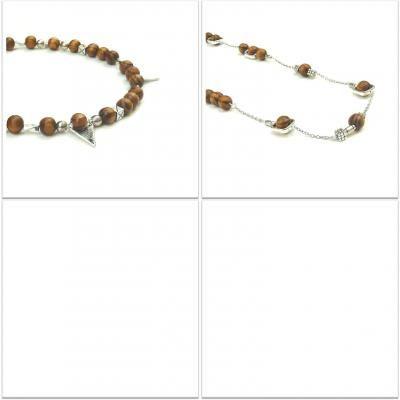 #15-000 Necklace Pewter and Wood - Price variable || #HandMade #FaitALaMain #HechoAMano || #Quebec #Canada #Toronto #Montreal #France || #BijouxBleu #Sebejo ||