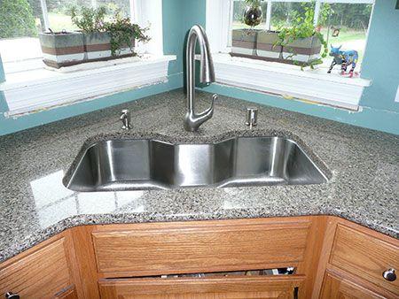 Aprovechar Espacio en la Cocina: Fregaderos en Esquina   Corner sink ...