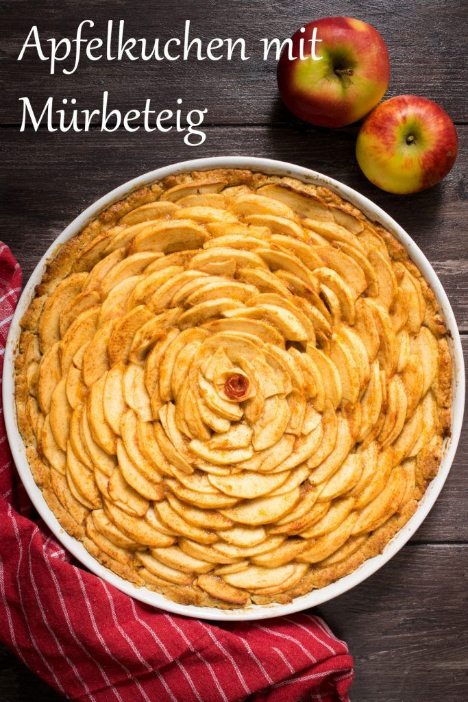 Rezept für Apfelkuchen mit Mürbeteig
