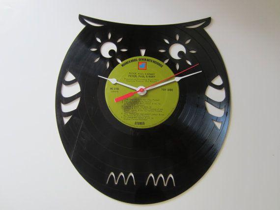 Owl Recycled Record Clock by RecordTimeClocks on Etsy, $25.00: Owl Rest, Owls Rest, Owl Recycled, Records Clocks
