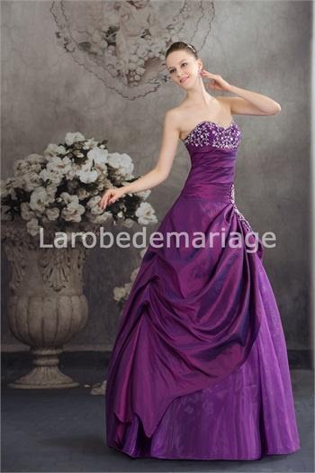 Robe de bal de promo 2013 ample décoration perlée en taffetas et organza