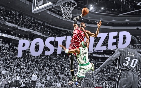 LeBron James dunk over Jason Terry... Source: http://www.basketwallpapers.com