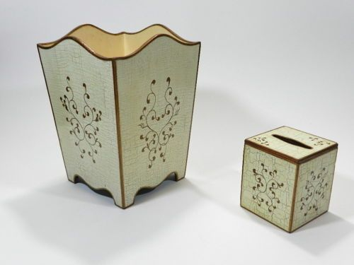 Tole Ware Waste Paper Basket And Tissue Box Wood Toleware