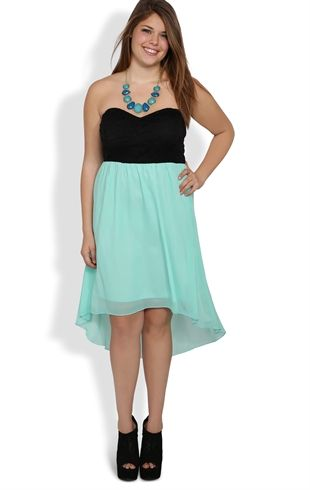 Plus Size Strapless High Low Dress with Crochet Lace Bodice | My ...