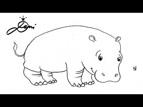 Nilpferd schnell zeichnen lernen ✏️ How To Draw A Hippo for Kids ✏️ как се рисува хипопотам за деца - YouTube
