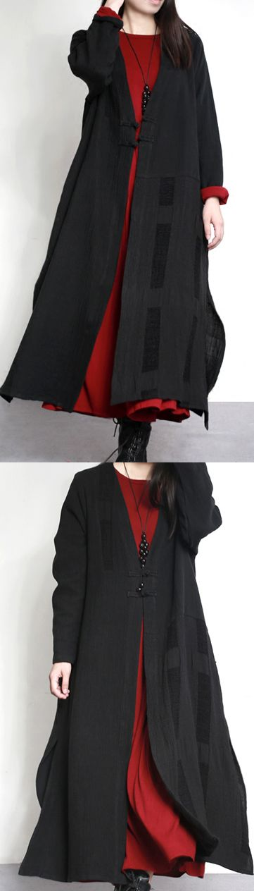 black casual linen coat winter cozy Chinese Button maxi trench coats