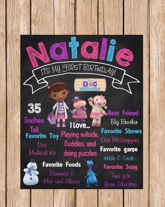 Doc McStuffin Personalized Birthday Chalkboard by BerrySweetParties, $15.00 USD