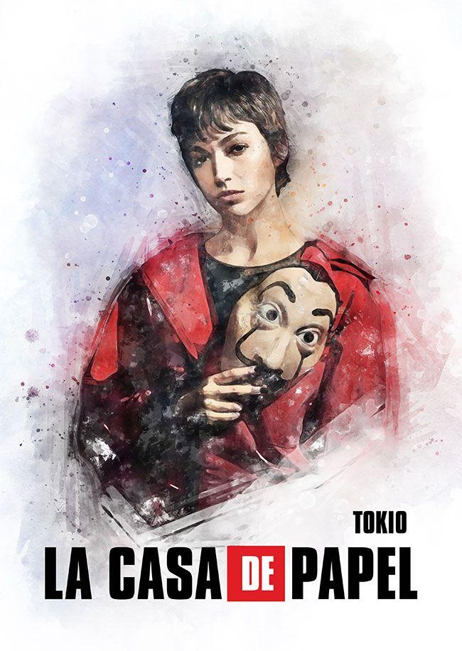 Tokio Money Heist Poster By Petsart Design Displate Poster Prints Tokio Design
