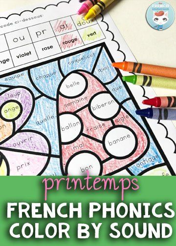 French Spring Color by Sound Worksheets: fun and engaging way to have students work on French phonics and develop critical thinking skills! Pour le printemps | coloriage magique