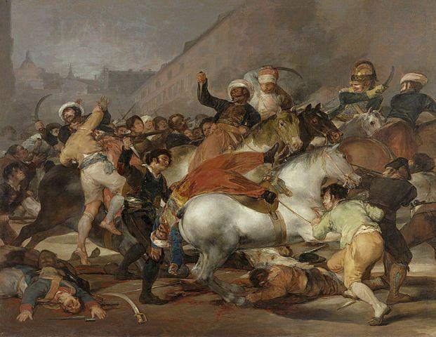 "The story behind Goy's painting, ""El dos de mayo de 1808 en Madrid"" by Francisco Goya - Museo del Prado, Madrid. Licensed under Public Domain via Wikimedia Commons."