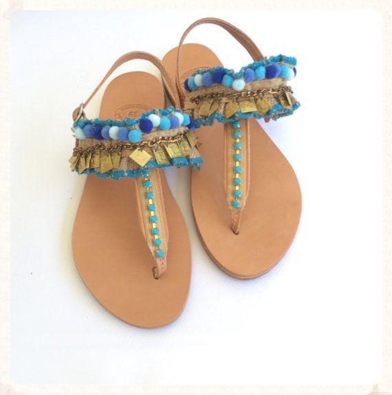Pom Pom Sandals ''Circe'' Genuine leather by BohemianFootprints