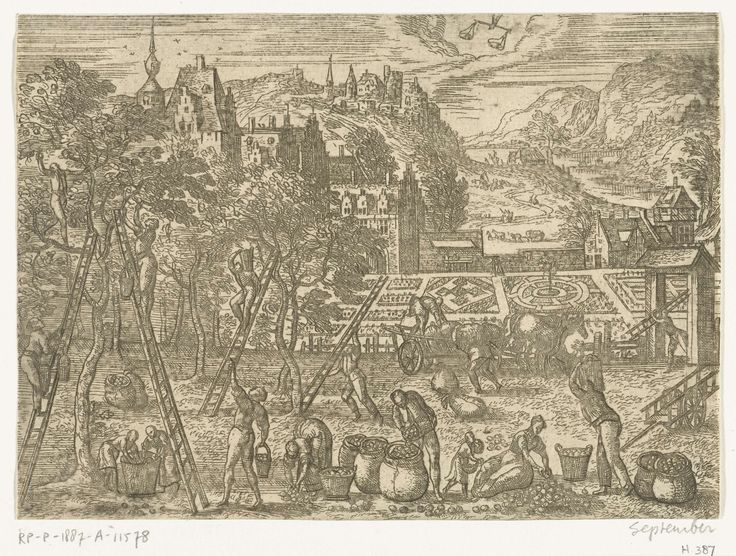 Pieter van der Borcht (I) | September, Pieter van der Borcht (I), 1545 - 1608 | Herfstlandschap met najaartaferelen. September is de fruitmaand. Centraal staat de fruitoogst. De prent toont mannen, vrouwen en kinderen die de appels plukken in een boomgaard. Op de achtergrond is een architectonische tuin te zien. Middenboven het sterrenbeeld Weegschaal. In deze serie van de twaalf maanden wordt elke maand afgebeeld met de voor haar typerende menselijke activiteiten, haar klimatologische…