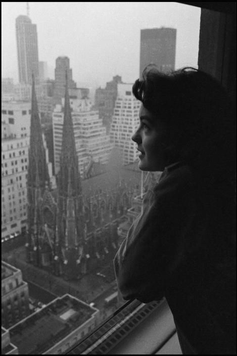 Dennis STOCK :: Romy Schneider + views of St. Patrick's Cathedral from the windows of Rockefeller Center, NYC, 1958