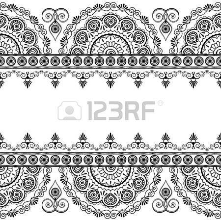 Nahtlose indische mehndi Randelemente mit Blumen für Karten und Tätowierung auf weißem Hintergrund. Vektor-Illustration photo