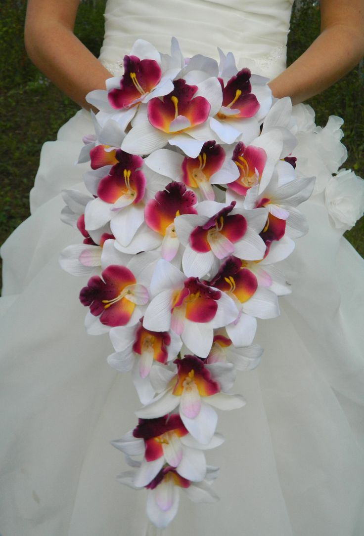 Orchid Bouquet, Cascade, purple, plum, lavender, white, cymbidium orchid, bride, bridal, waterfall. $45.00, via Etsy.