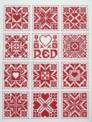 Scandinavan Red & White, designed by Jan Eaton, from Tom Pudding Designs.