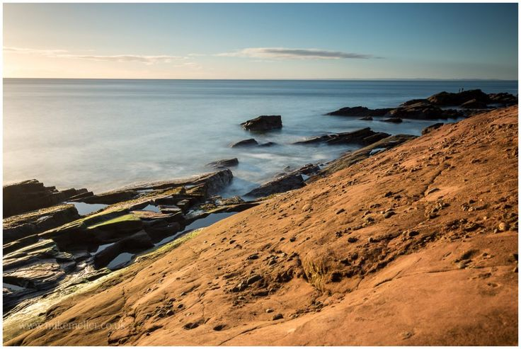 Red Seaton Cliffs in Arbroath, SCOTLAND. Fishermen. Landscape Photography.