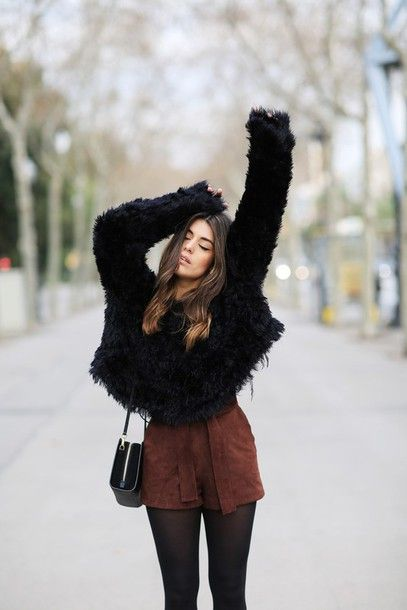 Sweater: dulceida blogger shorts suede brown fuzzy black fluffy winter outfits suede shorts brown
