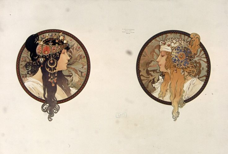 [Byzantine heads: brown, blonde]   Alphonse Mucha   1897   National Library of France   Public Domain