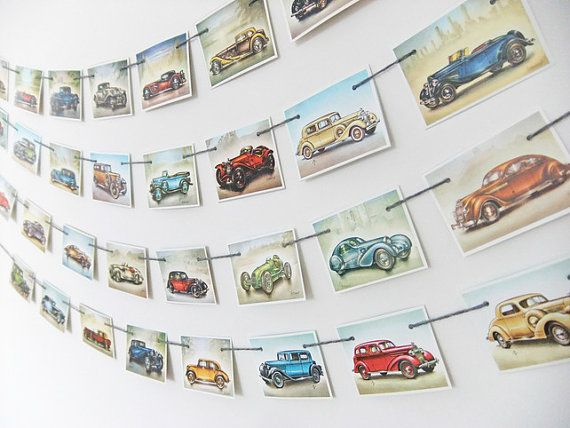 This vintage car bunting would be great as office decor or for a boy's bedroom or playroom. It would be lovely as party decor for someone who