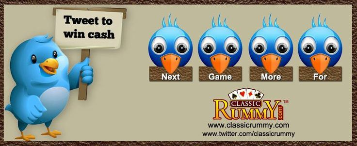 ‪New‬ ‪Words‬ For This Week - ‪‎Tweet‬ your way to ‪Win‬ ‪Cash‬!!!  The player with best caption gets Rs.500 Cash!  Here Is What You Need To Do:  Follow us on Twitter: https://twitter.com/classicrummy  Write a creative sentence using the words: NEXT, GAME, MORE, FOR along with ‪Classic‬ ‪Rummy‬.  *Tweet the sentence along with this link: www.classicrummy.com?link_name=CR-12