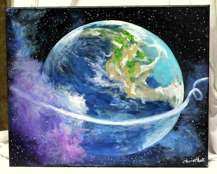 """Mother Earth Art, original painting, acrylic painting,16"""" x 20"""" stretched canvas, Deep space art, planet art, earth art, cosmic art by ThisArtToBeYours on Etsy https://www.etsy.com/listing/217478297/mother-earth-art-original-painting"""