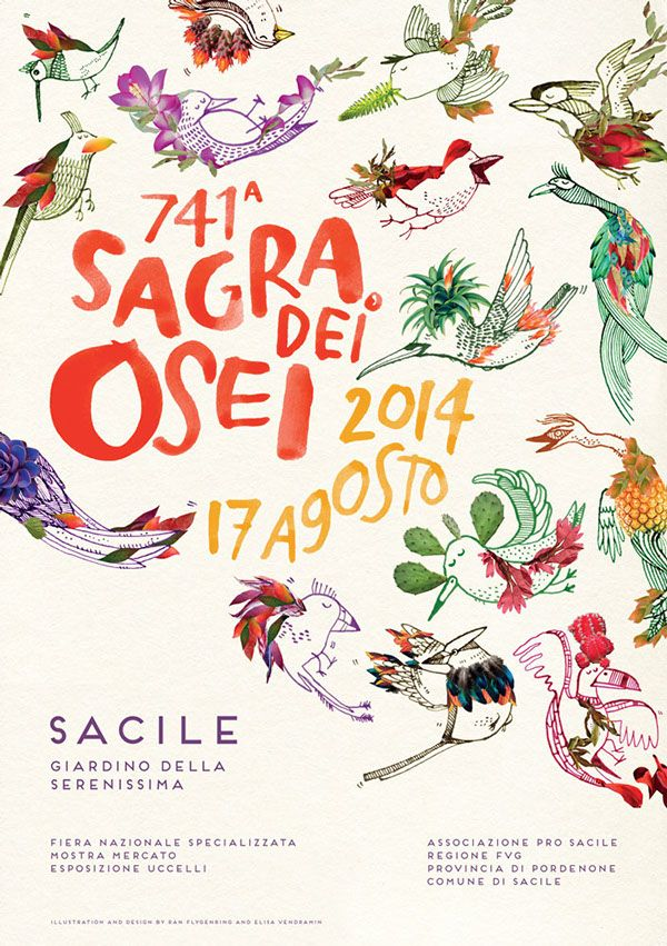 741° Sagra dei Osei on Behance Collaboration between Elisa Vendramin and Rán Flygenring for the 741th edition of Sagra dei Osei, a folkloristic bird festival that takes place in the city of Sacile (Italy). The illustration combines two different illustrative styles, ironical pen drawings with detailed photographic collages, in a colorful and fruity bird pattern.
