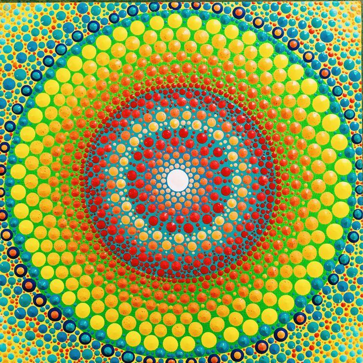 Sun and sea inspired original dot mandala painting. Dot Art.