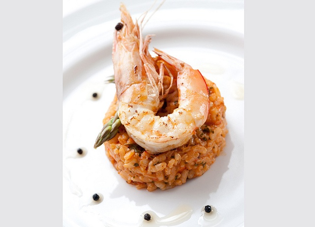 Risotto with prawns and asparagus