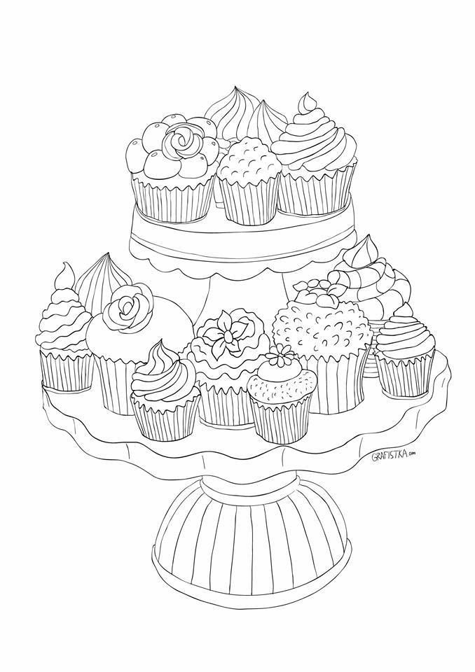 whimsical cupcake coloring pages - photo#17