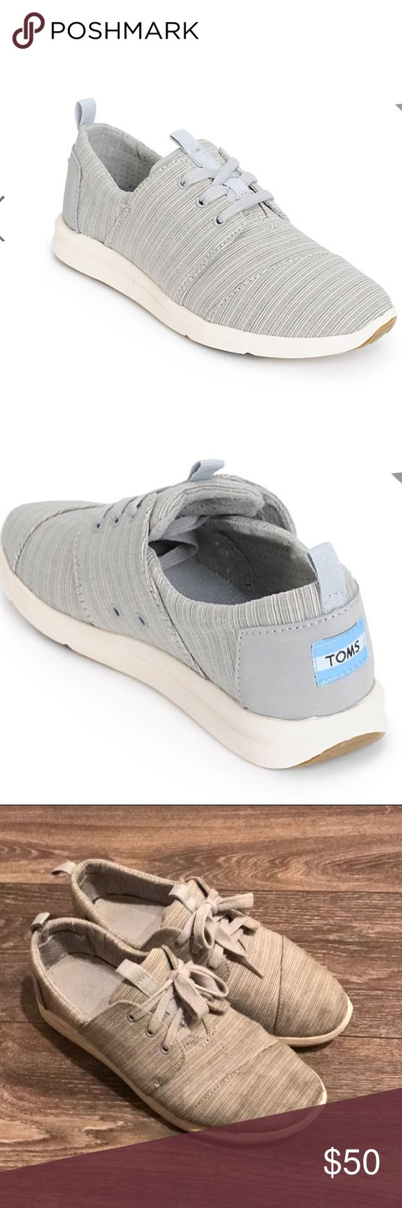 Toms del ray sneakers size 8 vapor blue Toms del ray sneakers size 8 vapor blue. Light blue gray striped color. Color no longer available in stores! Lightly worn but in excellent condition! Will consider all offers. Toms Shoes Athletic Shoes