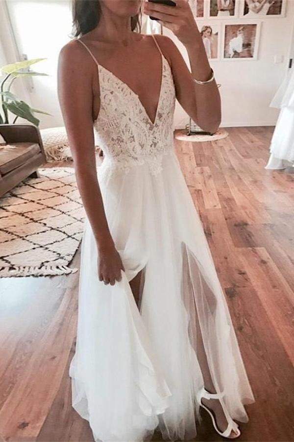Spaghetti Straps Long A-line V-neck Ivory Lace Tulle Beach Wedding Dresses Z1690 1