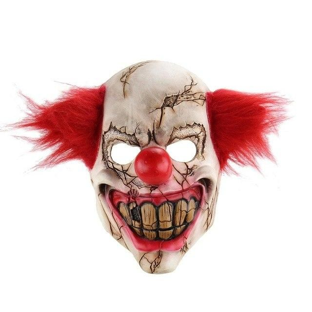 Adult Clown Scary IT Mask With Hair Circus Mens Masquerade Halloween Costume