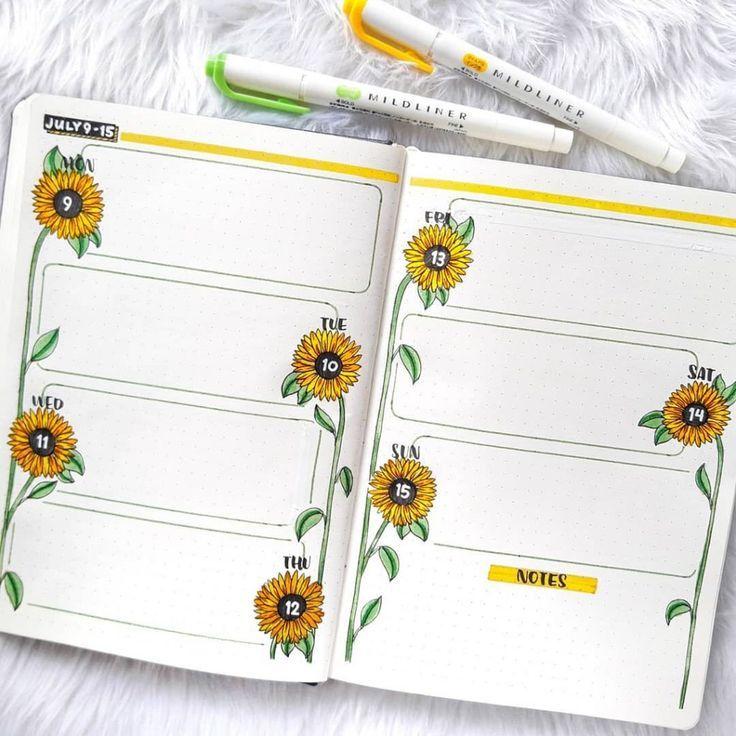 43 Super Sunny Sunflower bullet journal layout ide…