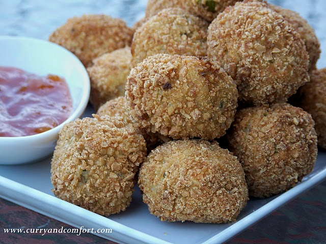 Masala Potato Croquettes, make with syn free breadcrumbs and bake with spray oil for syn free