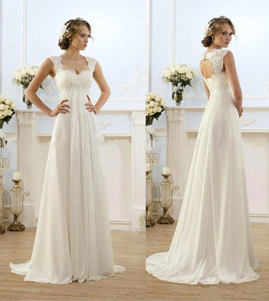cheap vintage modest wedding gowns capped sleeves empire waist pregant wedding dresses beach chiffon country style bridal gown maternity as low as 3769
