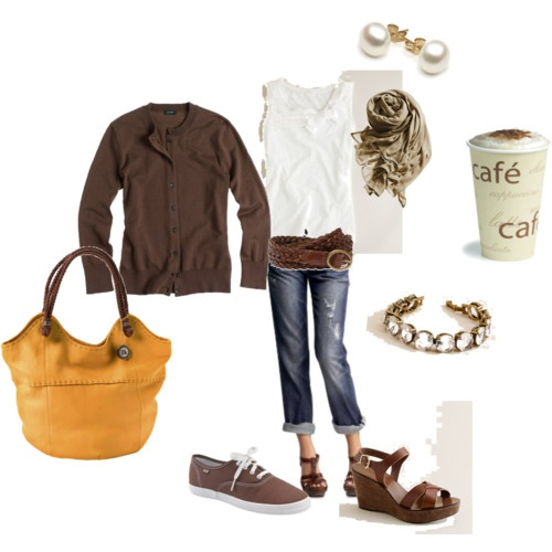 just the clothes: Fashion, Style, Clothing, Coffee, Fall Outfits, Wardrobe, Yellow Bags, Brown, Closet