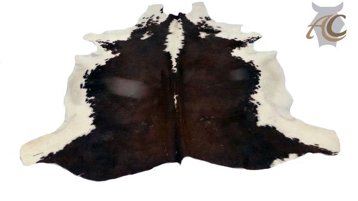 Alfombra de cuero de vaca Chocolate Con Blanco