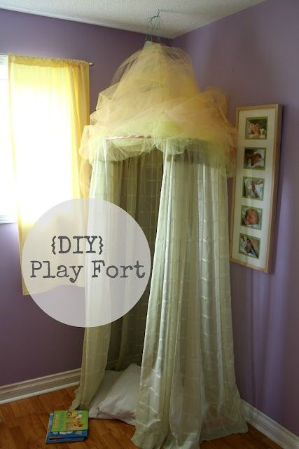 DIY Play fort from a hula hoop and curtains- no sewing! for-my-children
