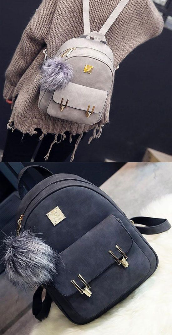 Fashion Frosted PU Zippered School Bag With Metal Lock Match Backpack for  big sale!   7fb6a2862404c