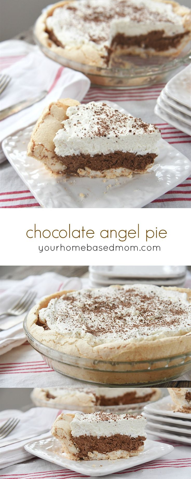 Chocolate Angel Pie Dessert Recipe - This is a bite of heaven on your fork!  Chocolate Angel Pie has a meringue crust filled with chocolate cream and topped with a whipped cream cloud.