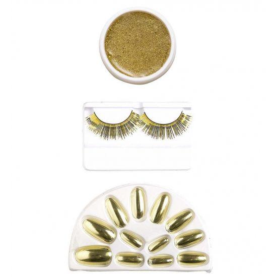 Make-up set in de kleur goud. Inhoud: gouden nepnagels, gouden nepwimpers en gouden oogschaduw. Deze gouden make-up set kunt u bijvoorbeeld combineren met een gouden outfit om het extra speciaal maken.