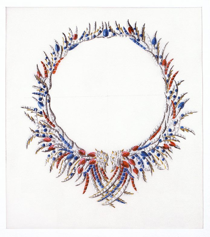 Esquisse et Croquis - Jean Schlumberger pour Tiffany and Co - Depuis 30 ans il a dessiné des Créations colorées pour Tiffany comme son collier de Plumes, inspiré par celles d'un Oiseau exotique.