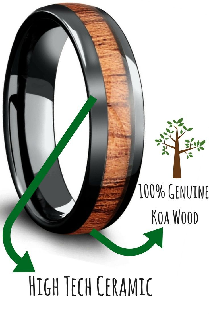 Mens black high tech ceramic wooden wedding bands. This mens wooden wedding band is made with 100% real genuine koa wood. This wood ring is for the true outdoorsmen.